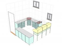 Специализированный гипсовочный стол 3-х тумбовый с выдвижными ящиками